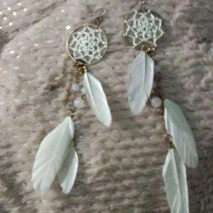 Jewelry - White Dream Catcher Feather Long Dangle Earrings